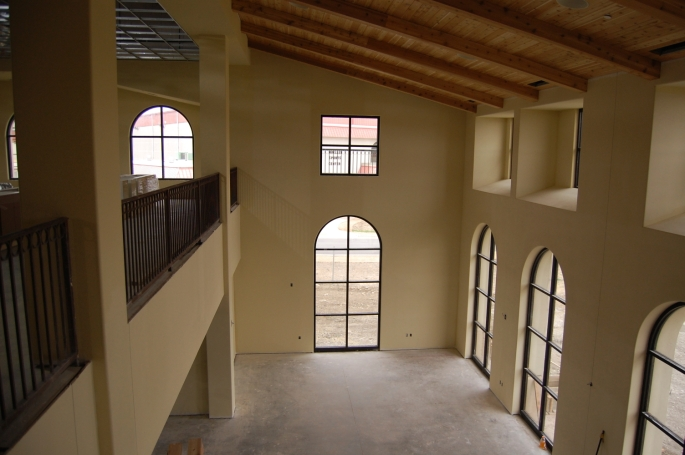 Looking towards the sports center from the second floor